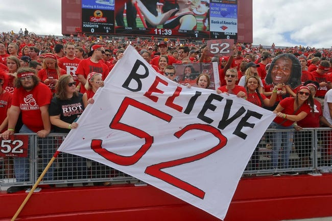 Sep 14, 2013; Piscataway, NJ, USA;  Rutgers Scarlet Knights student body support Eric LeGrand during halftime ceremony retiring his number 52 at High Points Solutions Stadium. Mandatory Credit: Jim O'Connor-USA TODAY Sports