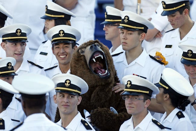 Sep 14, 2013; Annapolis, MD, USA; Navy Midshipmen during the game against the Delaware Blue Hens at Navy Marine Corps Memorial Stadium. Mandatory Credit: Mitch Stringer-USA TODAY Sports