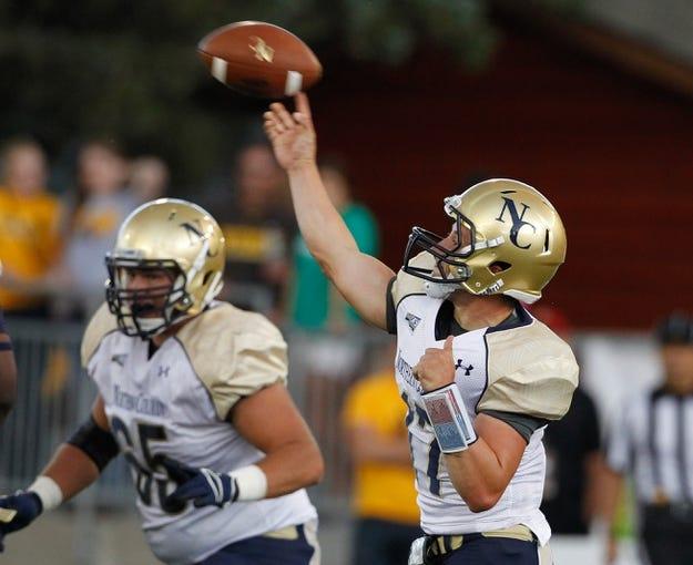 Sep 14, 2013; Laramie, WY, USA; Northern Colorado Bears quarterback Tim Tancik (17) throws against the Wyoming Cowboys during the fourth quarter at War Memorial Stadium. Mandatory Credit: Troy Babbitt-USA TODAY Sports