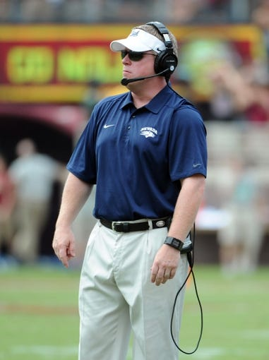 Sep 14, 2013; Tallahassee, FL, USA; Nevada Wolf Pack head coach Brian Polian during the first half of the game against the Florida State Seminoles at Doak Campbell Stadium. Mandatory Credit: Melina Vastola-USA TODAY Sports