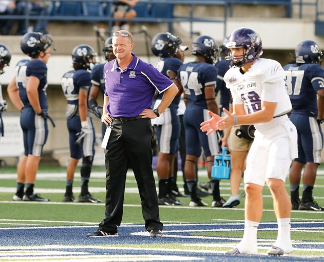 Sep 14, 2013; Logan, UT, USA; Weber State Wildcats head coach Jody Sears watches his team during pre game   at Romney Stadium. Mandatory Credit: Chris Nicoll-USA TODAY Sports
