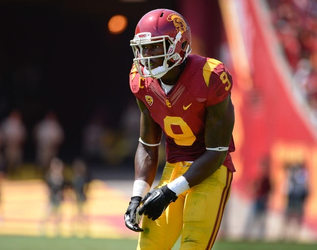 Sep 14, 2013; Los Angeles, CA, USA; USC Trojans wide receiver Marqise Lee (9) during the first half against Boston College at Los Angeles Memorial Coliseum. Lee had 2 catches for 90 yards and a touchdown. The Trojans beat Boston College 35-7. Mandatory Credit: Robert Hanashiro-USA TODAY Sports