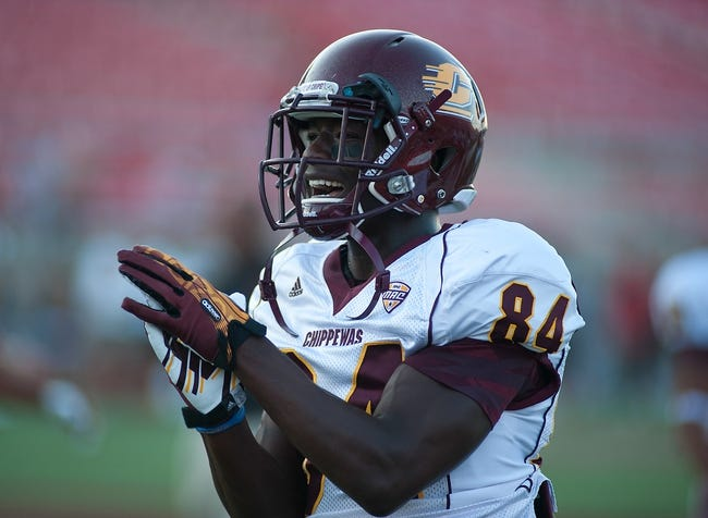 Sep 14, 2013; Las Vegas, NV, USA; Central Michigan Chippewas wide receiver Titus Davis gets fired up during warmups before an NCAA football game against UNLV at Sam Boyd Stadium. Mandatory Credit: Stephen R. Sylvanie-USA TODAY Sports
