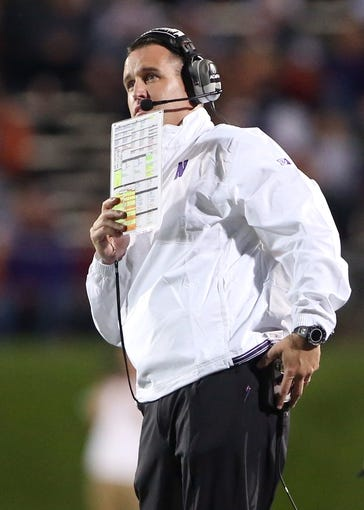 Sep 14, 2013; Evanston, IL, USA; Northwestern Wildcats head coach Pat Fitzgerald during the second quarter against the Western Michigan Broncos at Ryan Field. Mandatory Credit: Jerry Lai-USA TODAY Sports