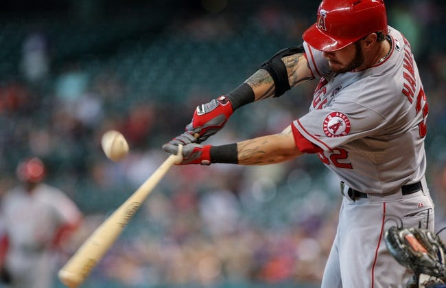 Sep 15, 2013; Houston, TX, USA; Los Angeles Angels right fielder Josh Hamilton (32) bats during the sixth inning against the Houston Astros at Minute Maid Park. Mandatory Credit: Troy Taormina-USA TODAY Sports