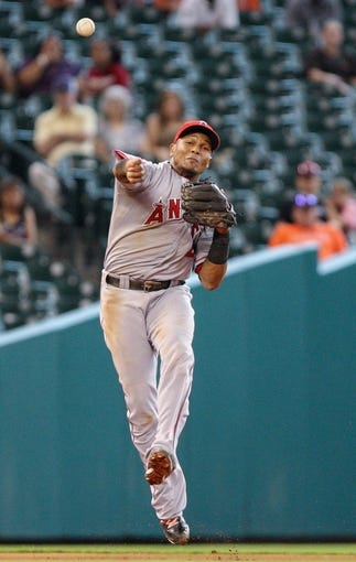 Sep 15, 2013; Houston, TX, USA; Los Angeles Angels shortstop Erick Aybar (2) throws to first base during the fifth inning against the Houston Astros at Minute Maid Park. Mandatory Credit: Troy Taormina-USA TODAY Sports