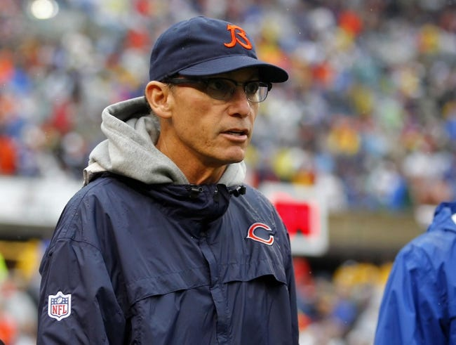 Sep 15, 2013; Chicago, IL, USA; Chicago Bears head coach Marc Trestman during the second half against the Minnesota Vikings at Soldier Field. Chicago won 31-30. Mandatory Credit: Dennis Wierzbicki-USA TODAY Sports