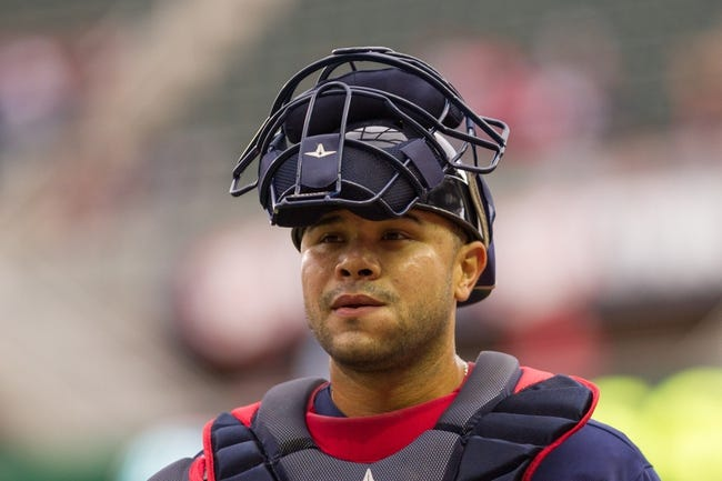 Sep 15, 2013; Minneapolis, MN, USA; The Minnesota Twins catcher Josmil Pinto (43) walks to the dugout before the game against the Tampa Bay Rays at Target Field.Twins win 6-4. Mandatory Credit: Brad Rempel-USA TODAY Sports