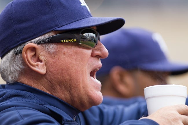 Sep 15, 2013; Minneapolis, MN, USA; The Tampa Bay Rays manager Joe Maddon in the dugout in the third inning against the Minnesota Twins at Target Field.Twins win 6-4. Mandatory Credit: Brad Rempel-USA TODAY Sports