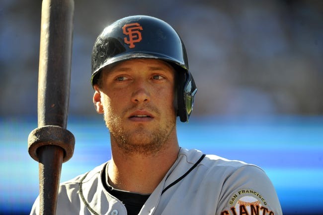 September 15, 2013; Los Angeles, CA, USA; San Francisco Giants right fielder Hunter Pence (8) on deck before hitting in the eighth inning against the Los Angeles Dodgers at Dodger Stadium. Mandatory Credit: Gary A. Vasquez-USA TODAY Sports
