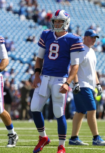 Sep 8, 2013; Orchard Park, NY, USA; Buffalo Bills quarterback Jeff Tuel (8) before a game against the New England Patriots at Ralph Wilson Stadium.  Mandatory Credit: Timothy T. Ludwig-USA TODAY Sports
