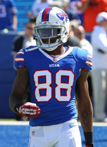 Sep 8, 2013; Orchard Park, NY, USA; Buffalo Bills wide receiver Marquise Goodwin (88) before a game against the New England Patriots at Ralph Wilson Stadium.  Mandatory Credit: Timothy T. Ludwig-USA TODAY Sports