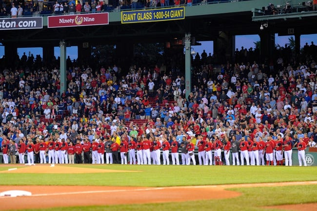 Sep 13, 2013; Boston, MA, USA; The Boston Red Sox line up for the national anthem prior to a game against the New York Yankees at Fenway Park. Mandatory Credit: Bob DeChiara-USA TODAY Sports