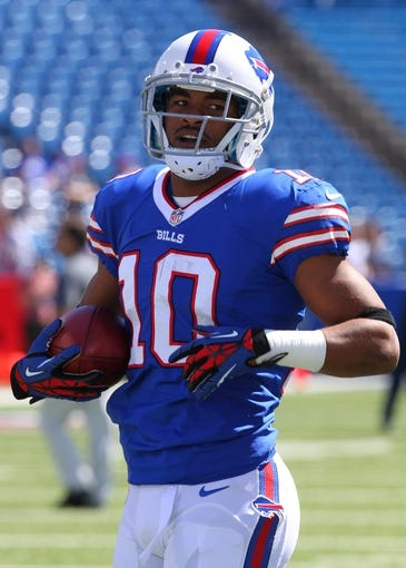 Sep 8, 2013; Orchard Park, NY, USA; Buffalo Bills wide receiver Robert Woods (10) before a game against the New England Patriots at Ralph Wilson Stadium.  Mandatory Credit: Timothy T. Ludwig-USA TODAY Sports