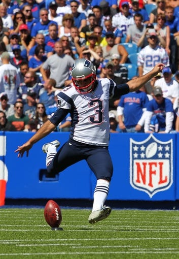 Sep 8, 2013; Orchard Park, NY, USA; New England Patriots kicker Stephen Gostkowski (3) kicks the ball during a game against the Buffalo Bills at Ralph Wilson Stadium.  Mandatory Credit: Timothy T. Ludwig-USA TODAY Sports