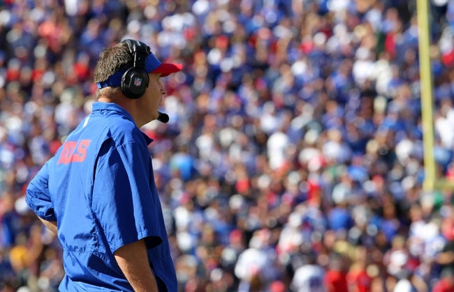Sep 8, 2013; Orchard Park, NY, USA; Buffalo Bills head coach Doug Marrone on the sideline during the second half against the New England Patriots at Ralph Wilson Stadium.  Patriots beat the Bills 23 to 21.  Mandatory Credit: Timothy T. Ludwig-USA TODAY Sports