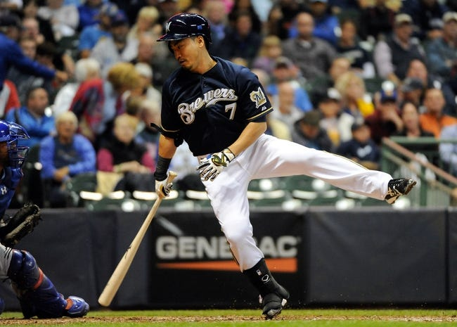 Sep 16, 2013; Milwaukee, WI, USA;  Milwaukee Brewers right fielder Norichika Aoki strikes out in the fourth inning during the game against the Chicago Cubs at Miller Park. Mandatory Credit: Benny Sieu-USA TODAY Sports