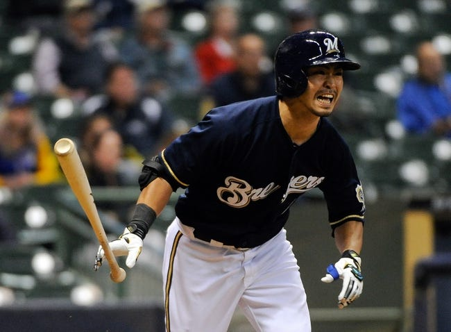 Sep 16, 2013; Milwaukee, WI, USA;  Milwaukee Brewers right fielder Norichika Aoki grounds out in th eighth inning during the game against the Chicago Cubs at Miller Park. Mandatory Credit: Benny Sieu-USA TODAY Sports