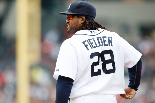 Sep 15, 2013; Detroit, MI, USA; Detroit Tigers first baseman Prince Fielder (28) in the field against the Kansas City Royals at Comerica Park. Mandatory Credit: Rick Osentoski-USA TODAY Sports