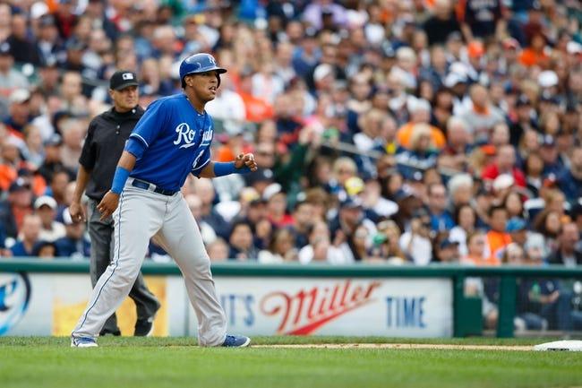 Sep 15, 2013; Detroit, MI, USA; Kansas City Royals catcher Salvador Perez (13) leads off third base against the Detroit Tigers at Comerica Park. Mandatory Credit: Rick Osentoski-USA TODAY Sports