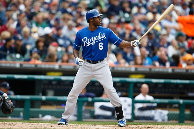 Sep 15, 2013; Detroit, MI, USA; Kansas City Royals right fielder Lorenzo Cain (6) at bat against the Detroit Tigers at Comerica Park. Mandatory Credit: Rick Osentoski-USA TODAY Sports