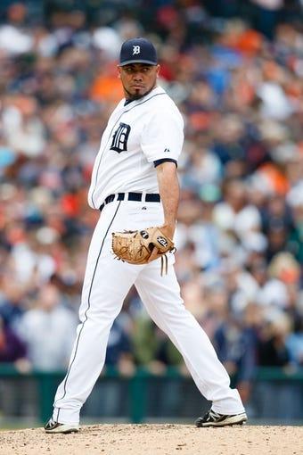Sep 15, 2013; Detroit, MI, USA; Detroit Tigers relief pitcher Joaquin Benoit (53) gets set to pitch against the Kansas City Royals at Comerica Park. Mandatory Credit: Rick Osentoski-USA TODAY Sports