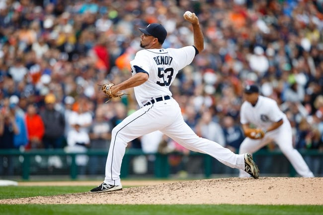 Sep 15, 2013; Detroit, MI, USA; Detroit Tigers relief pitcher Joaquin Benoit (53) pitches in the ninth inning against the Kansas City Royals at Comerica Park. Detroit won 3-2. Mandatory Credit: Rick Osentoski-USA TODAY Sports