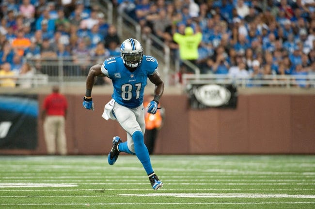 Sep 8, 2013; Detroit, MI, USA; Detroit Lions wide receiver Calvin Johnson (81) during the third quarter against the Minnesota Vikings at Ford Field. Mandatory Credit: Tim Fuller-USA TODAY Sports