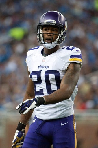 Sep 8, 2013; Detroit, MI, USA; Minnesota Vikings cornerback Chris Cook (20) during the third quarter against the Detroit Lions at Ford Field. Mandatory Credit: Tim Fuller-USA TODAY Sports