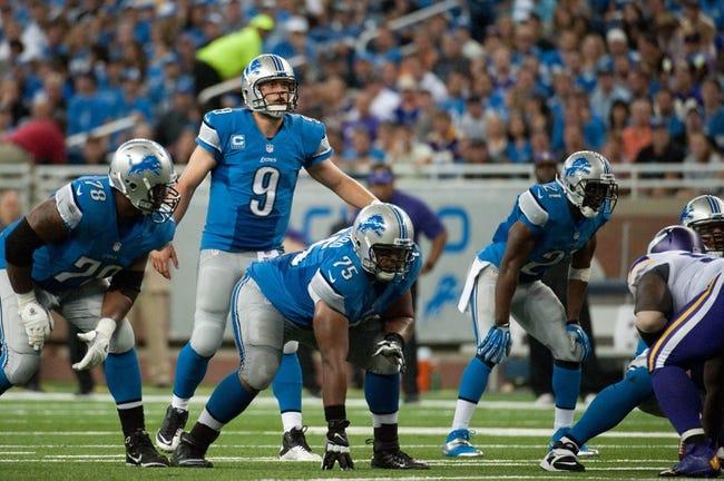 Sep 8, 2013; Detroit, MI, USA; Detroit Lions quarterback Matthew Stafford (9) during the third quarter against the Minnesota Vikings at Ford Field. Mandatory Credit: Tim Fuller-USA TODAY Sports