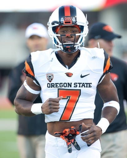 Sep 14, 2013; Salt Lake City, UT, USA; Oregon State Beavers wide receiver Brandin Cooks (7) warms up prior to a game against the Utah Utes at Rice-Eccles Stadium. Oregon State won 51-48 in overtime. Mandatory Credit: Russ Isabella-USA TODAY Sports