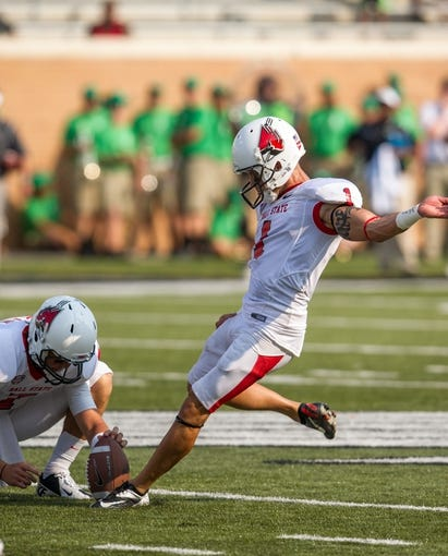 Sep 14, 2013; Denton, TX, USA; Ball State Cardinals kicker Scott Secor (1) attempts a field goal during the game against the North Texas Mean Green at Apogee Stadium. The Mean Green defeated the Cardinals 34-27. Mandatory Credit: Jerome Miron-USA TODAY Sports