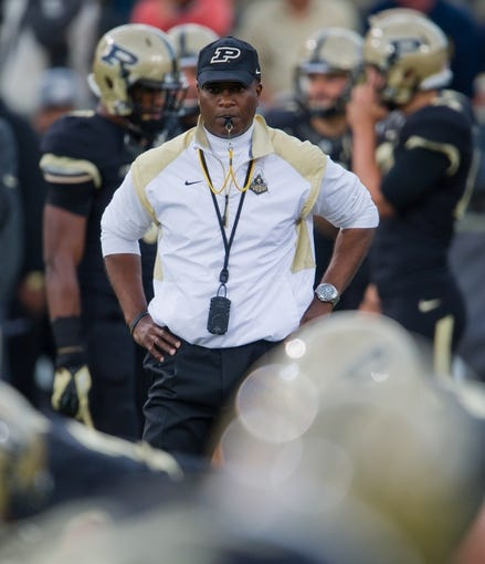 Sep 14, 2013; West Lafayette, IN, USA; Purdue Boilermakers head coach Darrell Hazell watches warmups before the game against the Notre Dame Fighting Irish at Ross-Ade Stadium. Notre Dame won 31-24. Mandatory Credit: Matt Cashore-USA TODAY Sports
