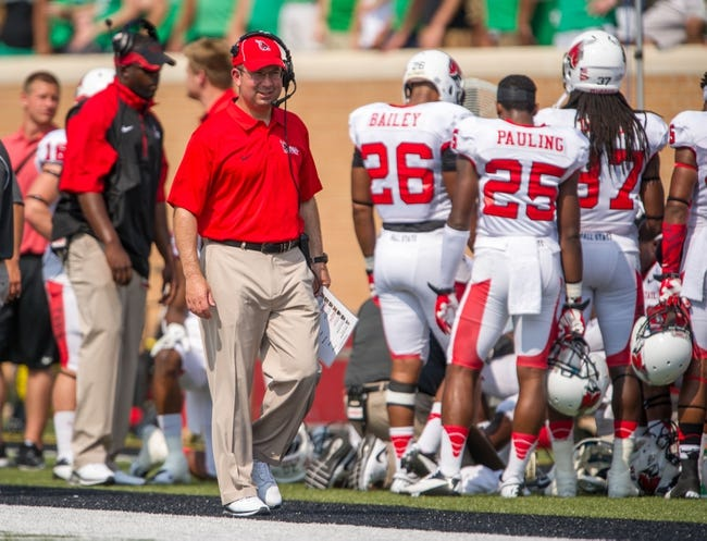 Sep 14, 2013; Denton, TX, USA; Ball State Cardinals head coach Pete Lembo during the game against the North Texas Mean Green at Apogee Stadium. The Mean Green defeated the Cardinals 34-27. Mandatory Credit: Jerome Miron-USA TODAY Sports