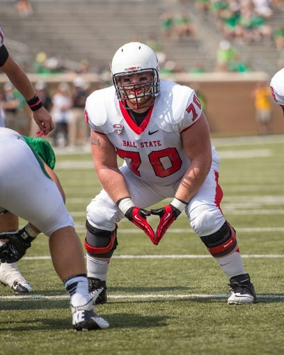 Sep 14, 2013; Denton, TX, USA; Ball State Cardinals guard Jordan Hansel (70) during the game against the North Texas Mean Green at Apogee Stadium. The Mean Green defeated the Cardinals 34-27. Mandatory Credit: Jerome Miron-USA TODAY Sports