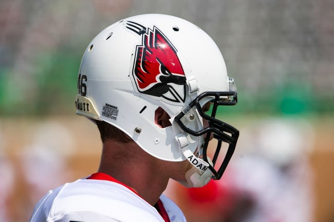 Sep 14, 2013; Denton, TX, USA; A general view of the helmet of Ball State Cardinals long snapper Garrett Mack (46) before the game against the North Texas Mean Green at Apogee Stadium. The Mean Green defeated the Cardinals 34-27. Mandatory Credit: Jerome Miron-USA TODAY Sports