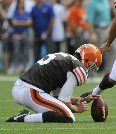 Sep 8, 2013; Cleveland, OH, USA; Cleveland Browns punter Spencer Lanning (5) before the game against the Miami Dolphins at FirstEnergy Stadium. Mandatory Credit: Ken Blaze-USA TODAY Sports