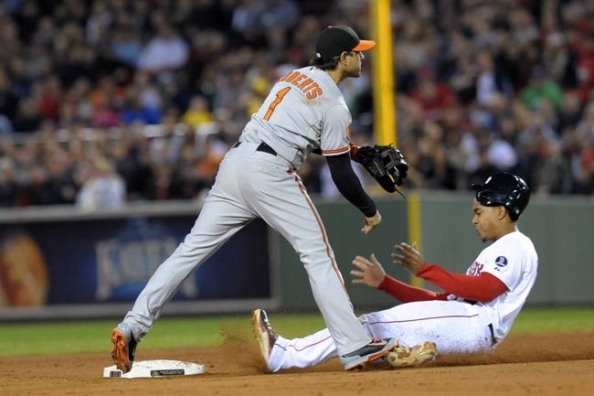 Sep 17, 2013; Boston, MA, USA; Boston Red Sox third baseman Xander Bogaerts (72) is forced out at second base by Baltimore Orioles second baseman Brian Roberts (1) during the fourth inning at Fenway Park. Mandatory Credit: Bob DeChiara-USA TODAY Sports