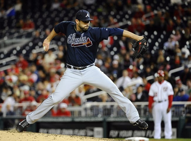 Sep 17, 2013; Washington, DC, USA; Atlanta Braves relief pitcher Jordan Walden (52) throws against the Washington Nationals during the eighth inning at Nationals Park. The Nationals won 4 - 0. Mandatory Credit: Brad Mills-USA TODAY Sports