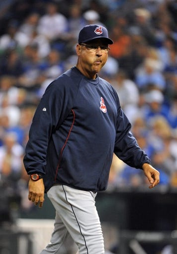 Sep 17, 2013; Kansas City, MO, USA; Cleveland Indians manager Terry Francona (17) makes a pitching change against the Kansas City Royals in the sixth inning at Kauffman Stadium. Mandatory Credit: John Rieger-USA TODAY Sports