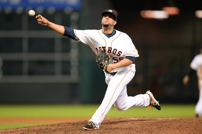 Sep 17, 2013; Houston, TX, USA; Houston Astros relief pitcher Rhiner Cruz (55) pitches against the Cincinnati Reds during the eighth inning at Minute Maid Park. The Reds won 10-0. Mandatory Credit: Thomas Campbell-USA TODAY Sports