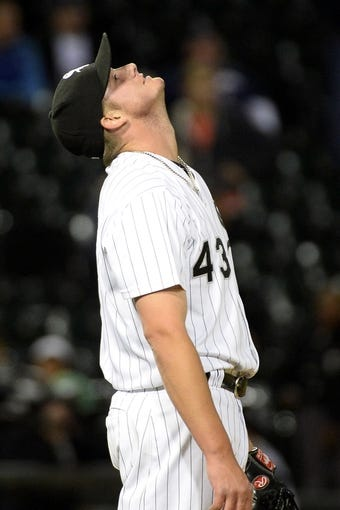 Sep 17, 2013; Chicago, IL, USA; Chicago White Sox relief pitcher Addison Reed (43) reacts after getting the save during the ninth inning at U.S Cellular Field. Chicago defeats Minnesota 4-3. Mandatory Credit: Mike DiNovo-USA TODAY Sports