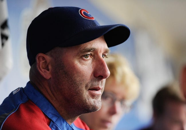 Sep 18, 2013; Milwaukee, WI, USA;   Chicago Cubs manager Dale Sveum talks to the media before a game against the Milwaukee Brewers at Miller Park. Mandatory Credit: Benny Sieu-USA TODAY Sports