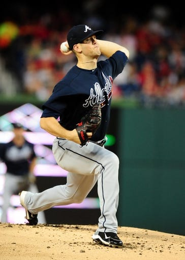 Sep 18, 2013; Washington, DC, USA; Atlanta Braves pitcher Alex Wood (58) throws a pitch in the first inning against the Washington Nationals at Nationals Park. Mandatory Credit: Evan Habeeb-USA TODAY Sports