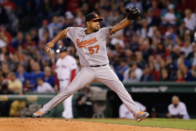 Sep 18, 2013; Boston, MA, USA; Baltimore Orioles relief pitcher Francisco Rodriguez (57) throws a pitch against the Boston Red Sox in the sixth inning at Fenway Park. Mandatory Credit: David Butler II-USA TODAY Sports
