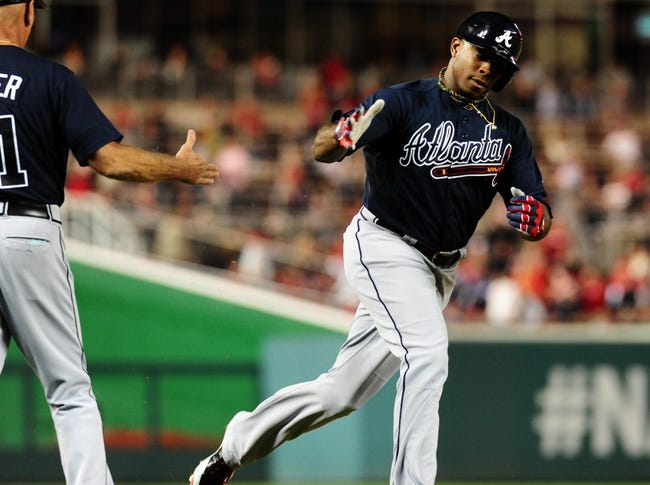 Sep 18, 2013; Washington, DC, USA; Atlanta Braves outfielder Justin Upton (8) rounds the bases after hitting a two-run home run in the sixth inning against the Washington Nationals at Nationals Park. Mandatory Credit: Evan Habeeb-USA TODAY Sports