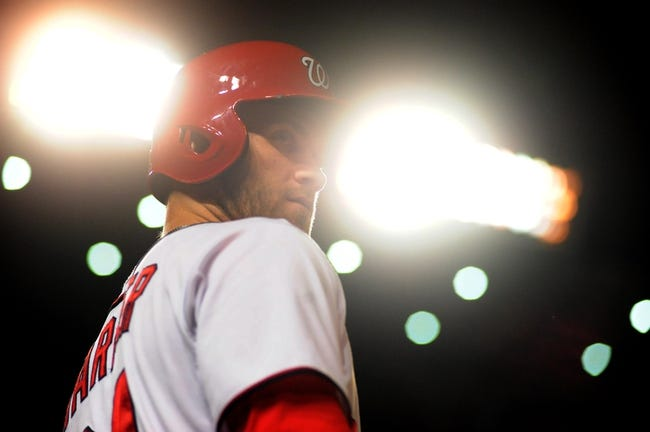 Sep 18, 2013; Washington, DC, USA; Washington Nationals outfielder Bryce Harper (34) looks on during the game against the Atlanta Braves at Nationals Park. Mandatory Credit: Evan Habeeb-USA TODAY Sports