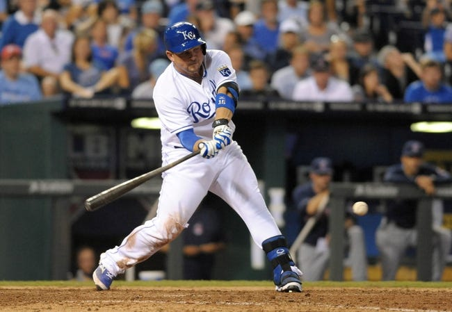 Sep 18, 2013; Kansas City, MO, USA; Kansas City Royals designated hitter Billy Butler (16) connects for a single in the eighth inning of the game against the Cleveland Indians at Kauffman Stadium. The Royals won 7-2. Mandatory Credit: Denny Medley-USA TODAY Sports