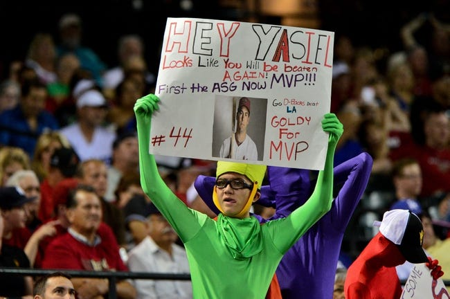 Sep 18, 2013; Phoenix, AZ, USA; An Arizona Diamondbacks fan holds a sign during the sixth inning against the Los Angeles Dodgers at Chase Field. Mandatory Credit: Matt Kartozian-USA TODAY Sports