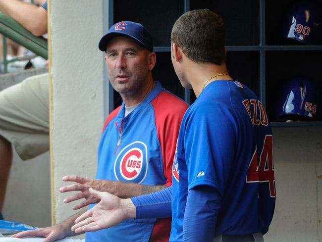 Sep 19, 2013; Milwaukee, WI, USA;   Chicago Cubs manager Dale Sveum talks to first baseman Anthony Rizzo during the game against the Milwaukee Brewers at Miller Park. Mandatory Credit: Benny Sieu-USA TODAY Sports